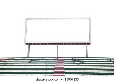 Empty digital billboard screen for advertising in stadium on white background