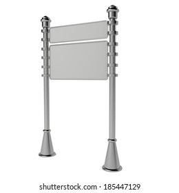 Empty direction signpost isolated on a white background. Advertising pointer. 3D.