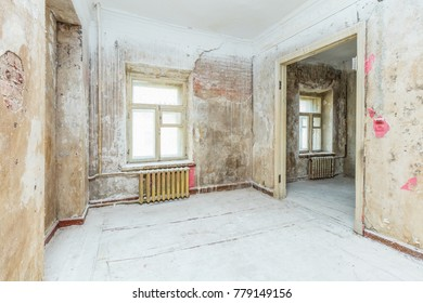 Empty dirty room ready for renovation and design