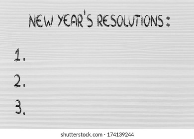 empty to do list of resolutions, wishes and goals for the new year