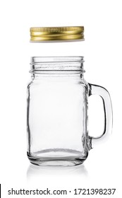 Empty drinking  mason jar with lid on white background.