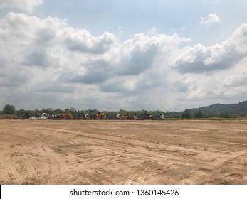 Empty dry crack soil, Land for sales landscape concept
