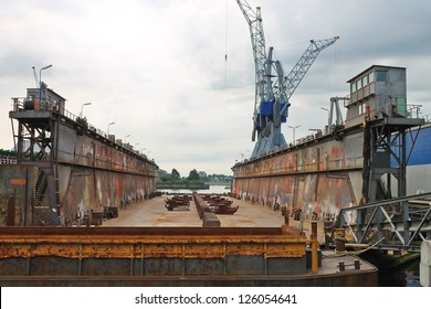 Empty dry dock at the shipyard, the Netherlands