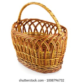 Empty easter wicker basket isolated on white background
