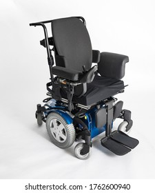 Empty electric wheel chair on white background