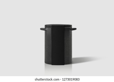 Empty enamel Canister or Jar Mock up on white background.High resolution photo.