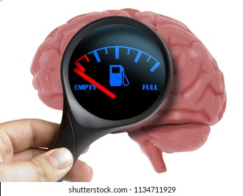 Empty Energy Human Brain concept. Magnifying glass on human 3d brain  without energy isolated on white