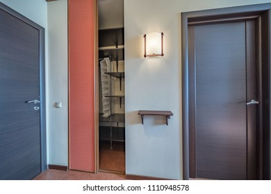 Empty entrance in modern apartment with wardrobe