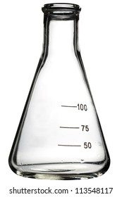 Empty erlenmeyer flask isolated on white.