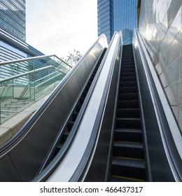 Empty Escalator In Modern Building