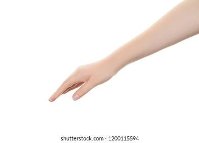 Empty female hand isolated on white background