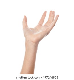 Empty female hand pretending to hold something