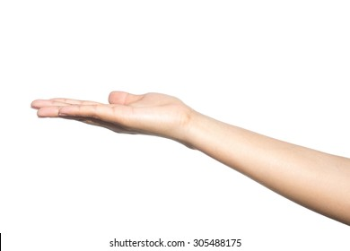 empty female woman hand holding isolated on white background