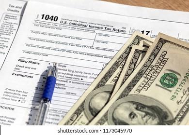 Empty financial IRS individual tax return 1040 form.