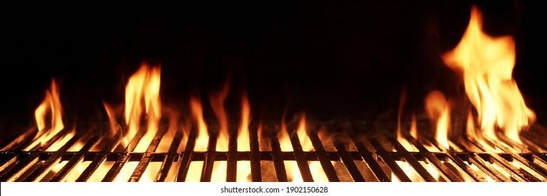 Empty Fire Flame Grill Hintergrund Textur.
