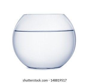 Empty fish bowl isolated on white
