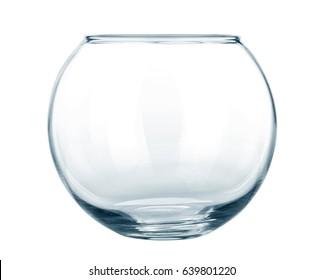 Empty fish bowl isolated on white background