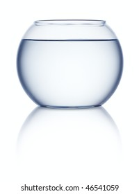 Empty fish bowl with water on white background