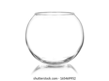Empty fishbowl without water, isolated on white
