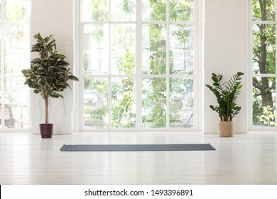 Empty fitness center interior with big windows and unrolled yoga mat on wooden floor, modern loft studio, comfortable space for work out and sport training, exercise, plants in pots