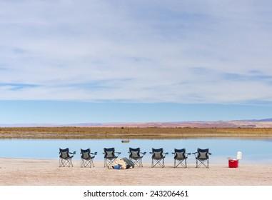 Empty flamingo's viewpoint in the lagoon of Atacama, Lagoon Cejar