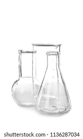 Empty flasks on white background. Laboratory analysis equipment