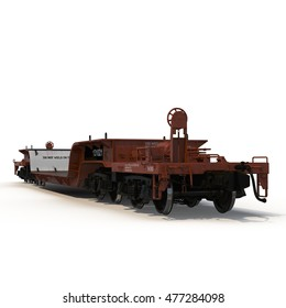 A empty flat car isolated on white 3D Illustration