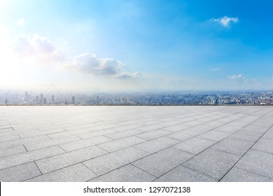Empty floor and city skyline with buildings in Shanghai,China