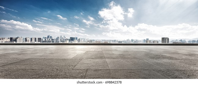 empty floor with cityscape of hangzhou in cloud sky