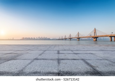 empty floor with cityscape of shanghai background