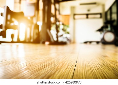 Empty of floor at a fitness gym vintage tone sunny day. For product display.