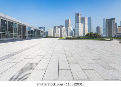 Empty floor with modern business office building and Panoramic skyline