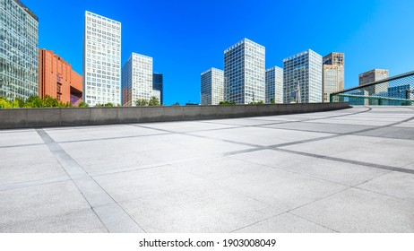Empty floor and modern city commercial buildings in Beijing,China.