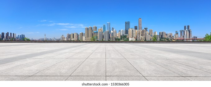 Empty floor and modern city financial district skyline in Chongqing,China.