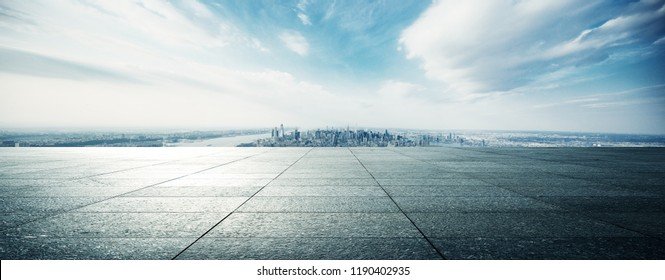 empty floor with modern cityscape in new york
