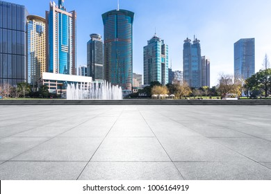 empty floor with panoramic cityscape in shanghai