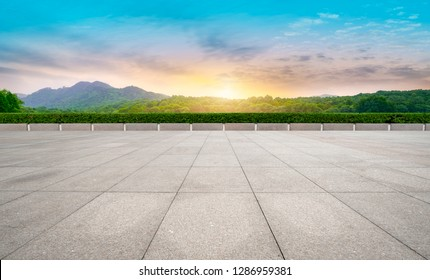 Empty floor tiles and outdoor natural landscape
