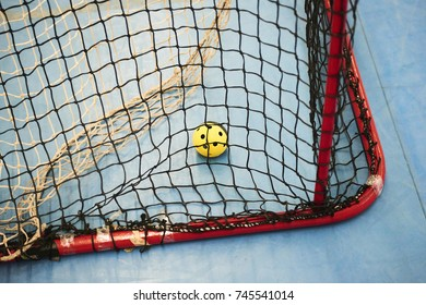 Empty Floorball goal with the balls in the net