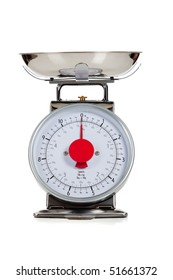 An empty food scale on a white background