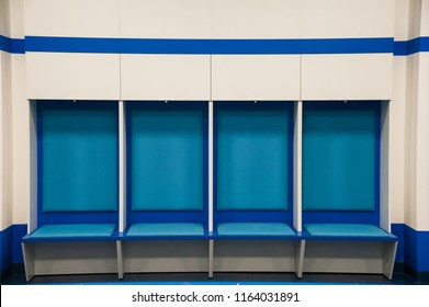 Empty football changing room at the stadium