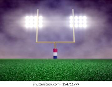 Empty Football Field and Spotlight with Smoke