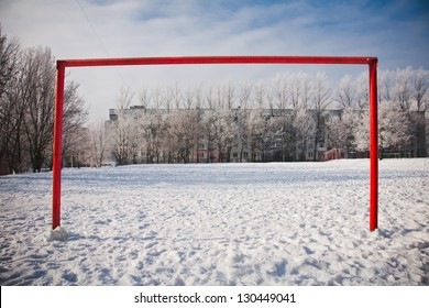 Empty football gate in winter season
