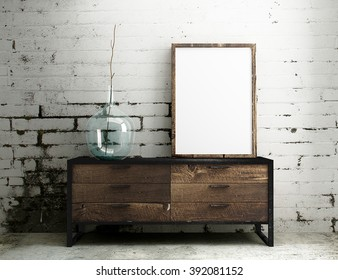Empty Frame mockup hang on industrial table with white dirty brick interior