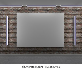 Empty frame on a brick wall with side light. 3D rendering.