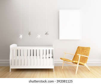 Empty frame poster with nursery background