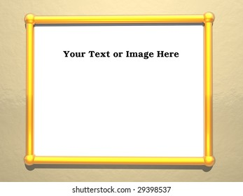 Empty frame showing brushed brass pipes with bronze background with space for text