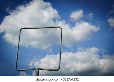 empty frame, empty sign and sky with clouds