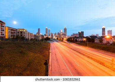 Empty freeway at dawn in downtown Atlanta, Georgia, USA