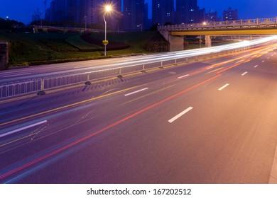 Empty freeway at night