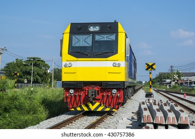 The empty freight train cross the road